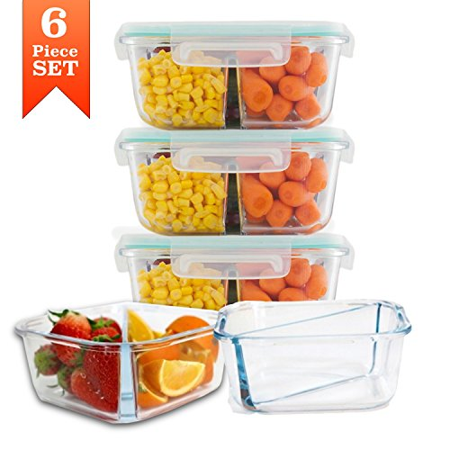 Meal Prep Divided Glass Containers with Snap Lock Vented Lids - BPA Leak Free (27 oz, 3.4 cups, Square 2 Compartment) Microwave Dishwasher Freezer Oven Bake Safe Food Storage - Gift Set (3 Pack) (1 Lock 800 Dish)