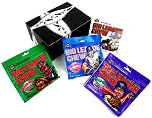 Big League Chew 4-Flavor Variety: One 2.12 oz Pouch Each of Outta' Here Original, Ground Ball Grape, Curveball Cotton Candy, and Wild Pitch Watermelon in a BlackTie Box (4 Items Total)