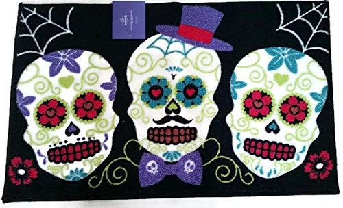 Halloween Day of The Dead Sugar Skulls Dia De Los Muertos Home and Kitchen Rug Floor Mat -