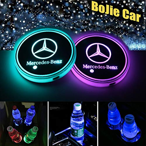 2pcs LED Car Logo Cup Holder Lights for Mercedes Benz, 7 Colors Changing USB Charging Mat Luminescent Cup Pad, LED Interior Atmosphere Lamp Decoration Light. (Mercedes Benz)