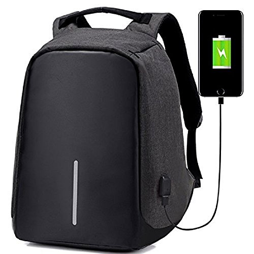 Deals Outlet Anti Theft Backpack with Inbuilt USB Charging Port 15 Inch Laptop Bag for Business Use in School College Office Waterproof Travel Casual Bagpack for Man Women Storage of Notebook Mobile Phone Camera (Black)-Best-Popular-Product