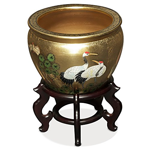 China Furniture Online Porcelain Fishbowl, 12 Inches Hand Painted Gold Leaf Cranes (Crane Bowl)
