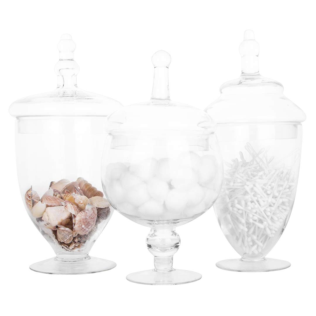 Classic Cookie Jar Kitchen Set Vanity Mirror Jars Candy Buffet Jars Bathroom Organizer Koyal Wholesale Apothecary Glass Jars Large Canisters Set of 3