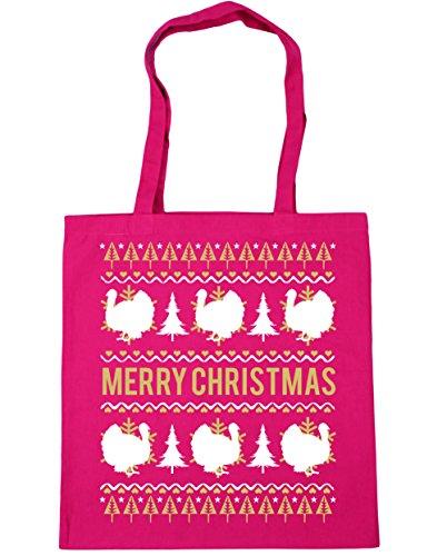 HippoWarehouse feliz Turquía Navidad Tote Compras Bolsa de playa 42cm x38cm, 10litros fucsia