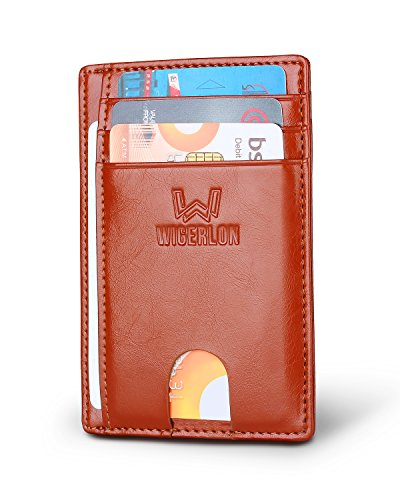 - Wigerlon Slim Minimalist Front Pocket RFID Blocking Wallet- Genuine Leather Wallets &Card Holder With ID Window for Men and Women color Waxed leather Brown
