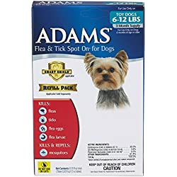 Adams Flea and Tick Spot On for Dogs, Toy Dogs 6-12 Pounds, 3 Month Supply, Refill, No Applicator