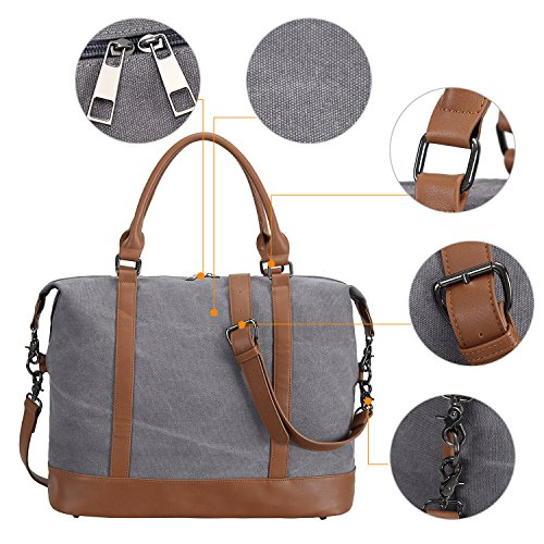 c174c6e6b21 Women Ladies Canvas Weekender Bag Overnight Carry-on Tote Duffel in Trolley  Handle (Grey