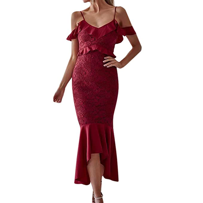55593cc91ea Floral Lace Mermaid Evening Gown Dress for Women Cold Shoulder Formal Maxi  Cocktail Bodycon Pencil Dresses Wedding Bridesmaid Prom Dress Swing  Irregular ...
