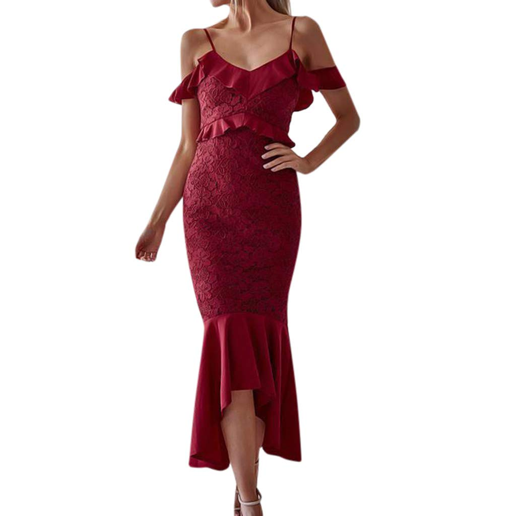 DMZing Fashion Casual Women Sexy Lace Off Shoulder Ruffle Cocktail Party Pencil Knee Dress RD/XL