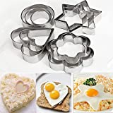 12Pc/Set Baking Moulds Stainless Steel Cookie Cutters Plunger Biscuit DIY Mold Star Heart Cutter Baking Mould Stencils Pastry 12Pcs Per Set