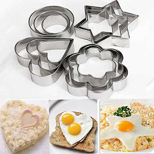 12Pc/Set Baking Moulds Stainless Steel Cookie Cutters Plunger Biscuit DIY Mold Star Heart Cutter Baking Mould Stencils Pastry 12Pcs Per Set by DWEwerhui