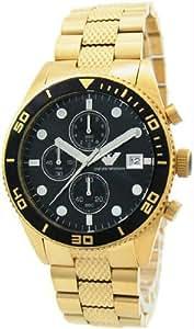 Emporio Armani AR5857 - Reloj cronógrafo de cuarzo para hombre, correa de acero inoxidable chapado color dorado (cronómetro)