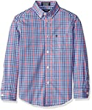 IZOD Boys' Big Long Sleeve Plaid Button-Down Dress Shirt, Confetti, X-Large (18/20)