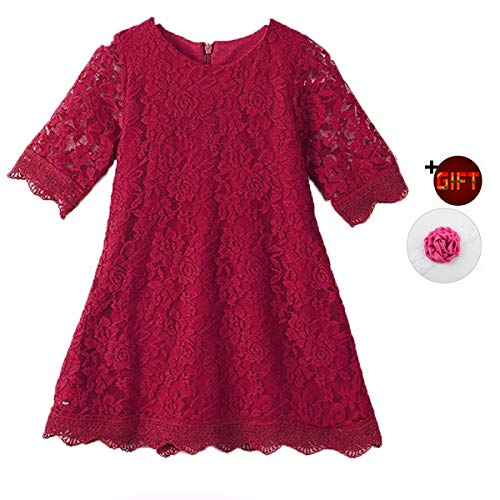Girls Dress for 7-8 Years Fall Christmas Easter Party Dresses Long Sleeve Special Occasion Dresses for Teens Red (Wine) Bridesmaid Lace Dresses Infant Junior Dresses (Wine Red160) ()