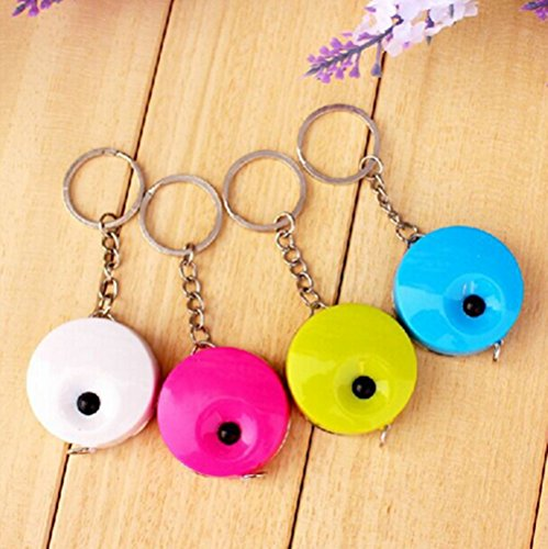M-Aimee Pack of 4 Assorted Colors Soft Retractable - Measurement Tape Keychain