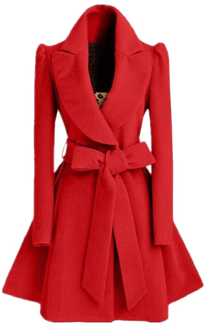 Women Pea Coat with Belt Slim Fit Mid-Long Lapel Swing Dress Coat