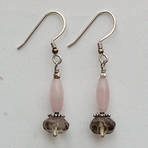 Diana Quartz Earrings - Smoky Quartz and Rose Quartz Earrings
