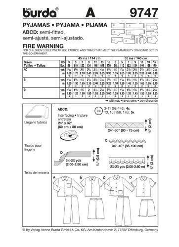 Burda 9747 Kinder Nähmuster-Katalog Pyjamas, Größe 3 bis 15: Amazon ...