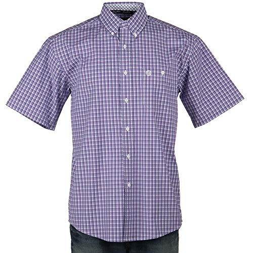 - Wrangler Apparel Mens George Strait Plaid Short Sleeve Shirt S Purple