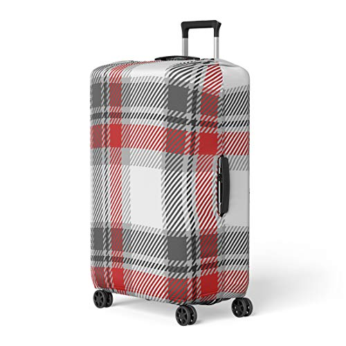 Scotland Tartan Ribbon - Pinbeam Luggage Cover Red Tartan Plaid Buffalo Casual Check Checker Checkered Travel Suitcase Cover Protector Baggage Case Fits 26-28 inches