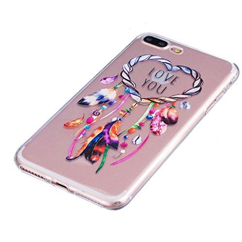"""Coque iPhone 7 Plus, IJIA Ultra-mince Transparent Carillons éoliens Coloré TPU Doux Silicone Bumper Case Cover Shell Housse Etui pour Apple iPhone 7 Plus (5.5"""") + 24K Or Autocollant"""