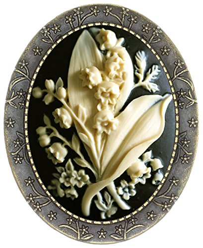 Yspace Floral Pin Brooch Antique Brass Flower Decor Fashion Cameo Jewelry Pouch for Gift (Bellflower)