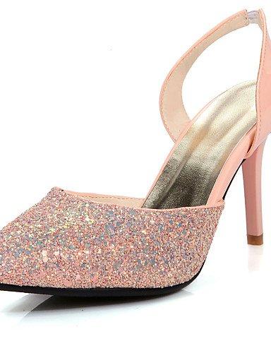 LFNLYX Zapatos de mujer-Tacón Stiletto-Tacones / Talón Descubierto / Puntiagudos-Sandalias-Vestido / Casual / Fiesta y Noche-Satén Elástico- Pink