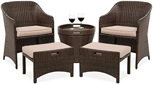 Best Choice Products 5-Piece Outdoor Wicker Bistro Set Multipurpose Furniture