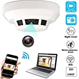 YCTONG WIFI Hidden Spy Camera Smoke Detector HD 1080P Wireless Home Security Camera Night Vision MotionDetection Alarm Mini Video Recorder Surveillance Camcorder for House Office Pet Nanny Cam