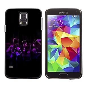 TECHCASE**Cubierta de la caja de protección la piel dura para el ** Samsung Galaxy S5 SM-G900 ** Music Notes Art Purple Love Symbol Dance