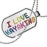 Dogtag I Love Kayaking%2CColorful Dog ta