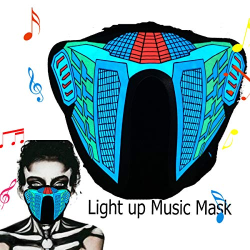 ShineWorld Led Light up El Music Rave Face Halloween Party Sound Active Glow Noen Custome DJ Funny Hiphop Mardi Gras Guy Fawks Masquerade Flash Men Mask for Dancing.Riding.Skating.Party&Festival -
