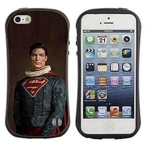 Be-Star Impreso Colorido Diseño Antichoque Caso Del Iface Primera Clase Tpu Carcasa Funda Case Cubierta Par Apple iPhone 5 / iPhone 5S ( superhero cape man flying funny )