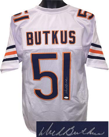 Dick Butkus Autographed Signed Memorabilia White Tb Custom Stitched Pro Style Football Jersey XL - JSA Authentic