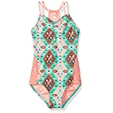 Gossip Girl Big Girls' Aztec Harvest One Piece Swimsuit, Brown/Aqua, 12