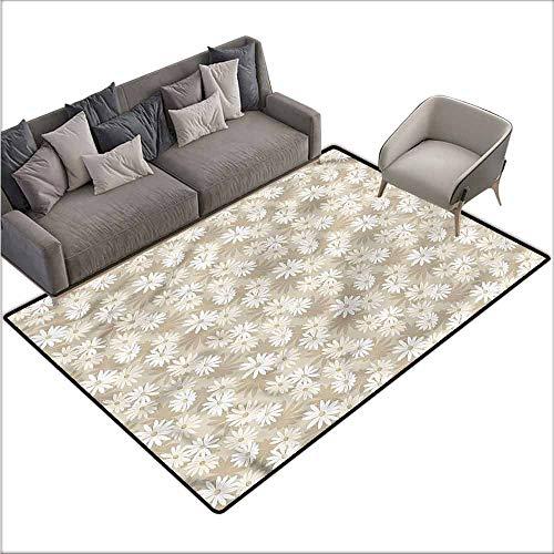 (Slip-Resistant Washable Entrance Doormat Cream,Calendula Floral Arrangement 60
