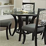 Steve Silver Company Cayman Round Dining Table In Black With Glass Top