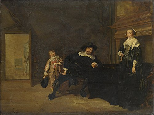 Oil Painting 'Pieter Codde Portrait Of A Man A Woman And A Boy In A Room' 12 x 16 inch / 30 x 41 cm , on High Definition HD (Halloween Talking Flashcards)