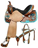 14″, 15″, 16″ Double T Barrel Style Saddle Set with Metallic Teal Painted Cross. Swmi Quarter Horse