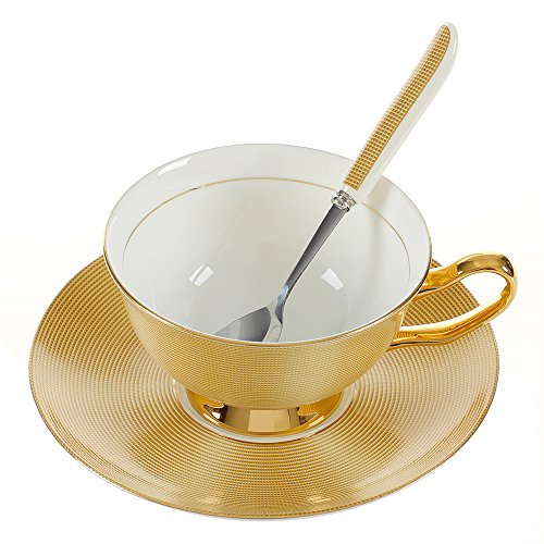Fronnor Antique Ceramic Coffee Tea Cups And Saucers For Wedding Gift/Porcelain floral Set for Home and Office Stunning Hostess Gift Idea Gift Box Packing (Yellow Gold)