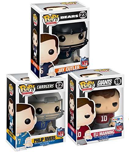 Funko POP! Football: NFL New York Giants 3.75 inch Action Figure - Eli Manning Throwback Jersey Exclusive + chargers #12 & Bears #23 Football Set