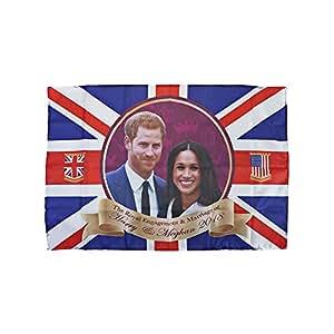 Lizzy® PMS International Deluxe - Bandera de Harry & Meghan con ojales para boda 2018, tamaño grande, 132 x 78 cm, Pack of 6