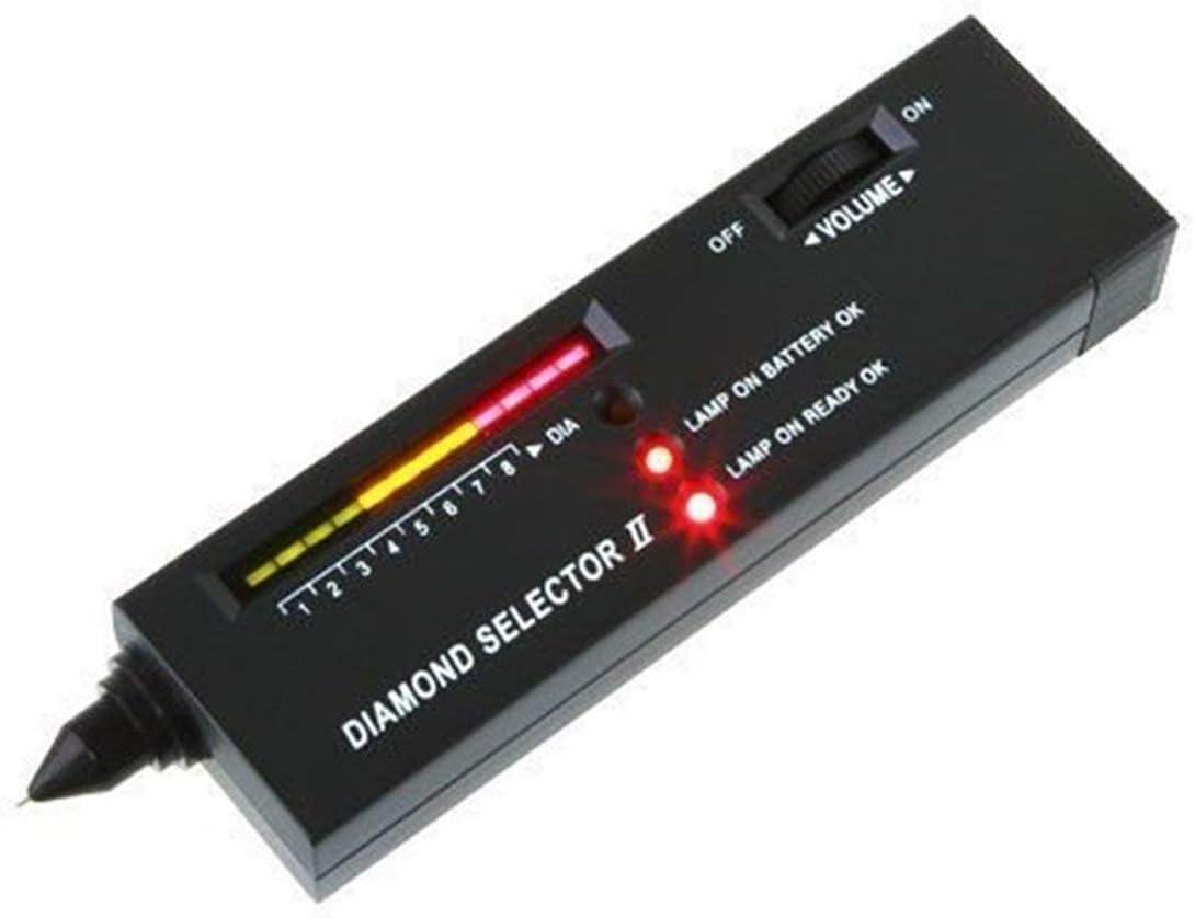 Diamond Selector II, bolígrafo probador de Gemas de Diamante, Herramienta de selección de Piedras Preciosas portátil, indicador LED, Herramienta de Prueba de joyería confiable y precisa (Negro)