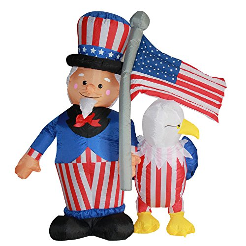 - Impact Canopy Inflatable Outdoor Independence Day Decoration, Lighted 4th of July Uncle Sam and Eagle, 6 Feet Tall