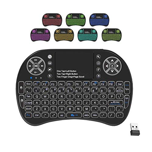 VIBOTON Backlit Mini Keyboard Touchpad Mouse, Mini Wireless Keyboard with Touchpad and Multimedia Keys for Android TV Box Smart TV HTPC PS3 Smart Phone Tablet Mac Linux Windows OS