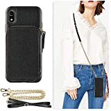 ZVE Case for Apple iPhone XR, 6.1 inch, Wallet Case with Crossbody Chain Credit Card Holder Slot Handbag Purse Wrist Zipper Strap Case Cover for Apple iPhone XR 6.1 inch - Black