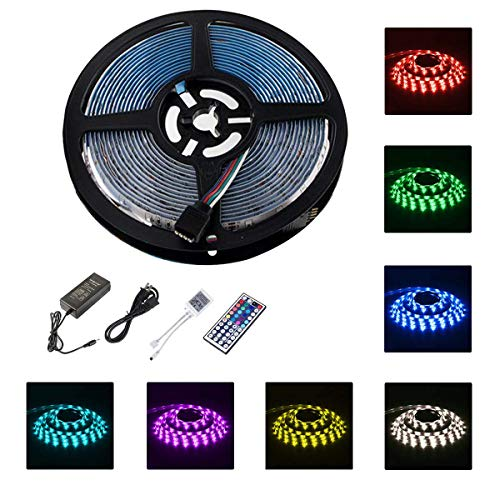 LED Strip Lights Waterproof 5M/16.4ft SMD 5050 RGB 150led Strips Lights Multi Color Changing with 44 Key IR Remote Ideal for Home, Kitchen, Christmas TV Back Lights DC 12V 3A