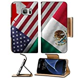 MSD Premium Samsung Galaxy S7 Flip Pu Leather Wallet Case IMAGE ID 32559273 Close up of the flags of the North American Free Trade Agreement NAFTA members on textile texture N