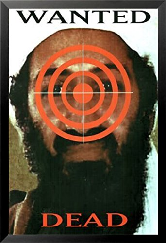 FRAMED Wanted Dead, Osama Bin Laden 24x36 Art Print Poster Bulls Eye Target Wanted Poster September 11th
