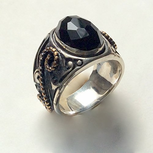 - Black onyx silver gold filigree ring Bohemian statement gypsy ring Cocktail Tibetan ring - Paint It Black R2238